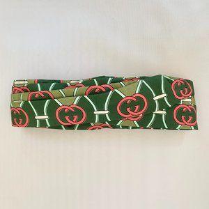 Gucci Silk GG Giwy Headband in Green